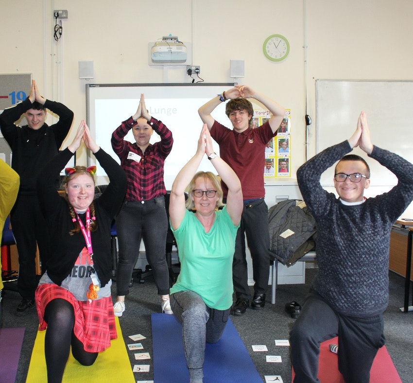 Pupils from Foxwood Academy try their hand at yoga