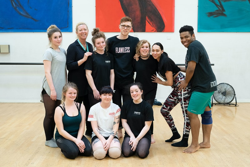 Dance students with James Cousins (centre) and Nicola Burt during rehearsals