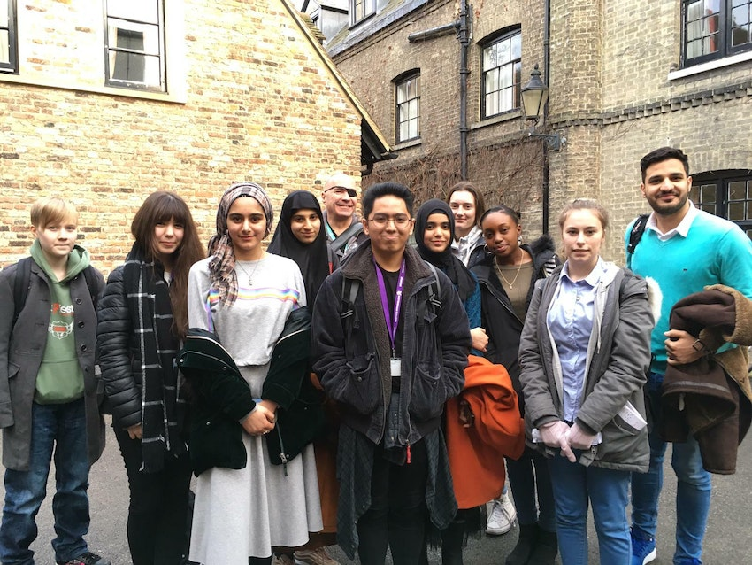 Our students outside Peterhouse College, Cambridge, with Alex MacDonald, Faculty Area Manager for High Pavement Sixth Form at Nottingham College (fifth from left)