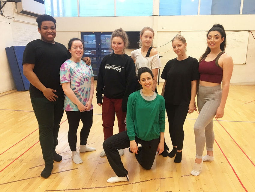 Noa Mamrud (front centre) with FdA Dance students in the studio at Clarendon campus