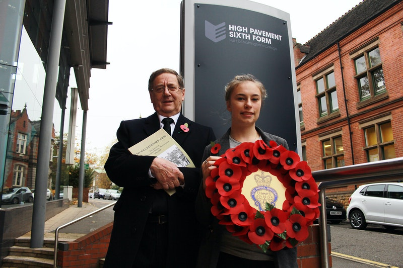 Peter Foster and Shelley Blake-Carey outside High Pavement Sixth Form
