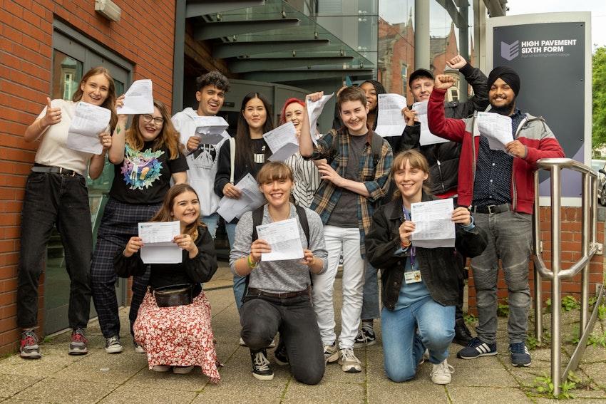 Students celebrating outside High Pavement