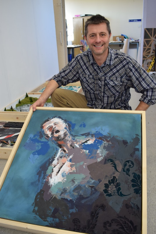 Richard Hyde with his painting