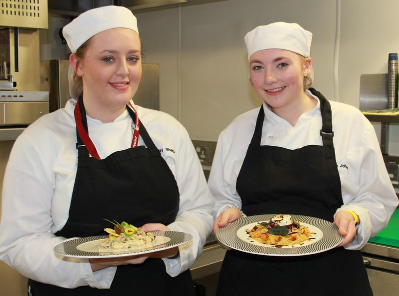l-r Kim and Elisha with their risotto creations