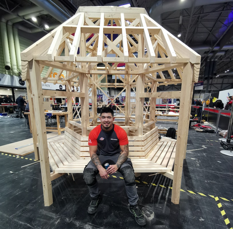 Jason with the completed gazebo