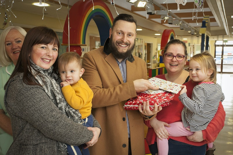 Mike and family with patients from the Children's Assessment Unit at Bassetlaw