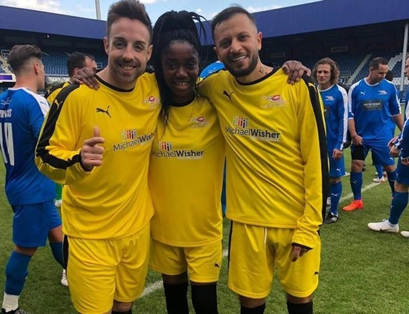 A Level student Odila with singer and former X Factor contestant Stevi Ritchie (left) and comedian Man Like Haks (right)