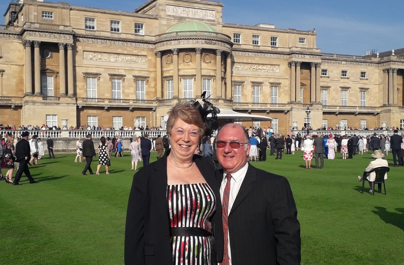Jane and husband Steve at Buckingham Palace