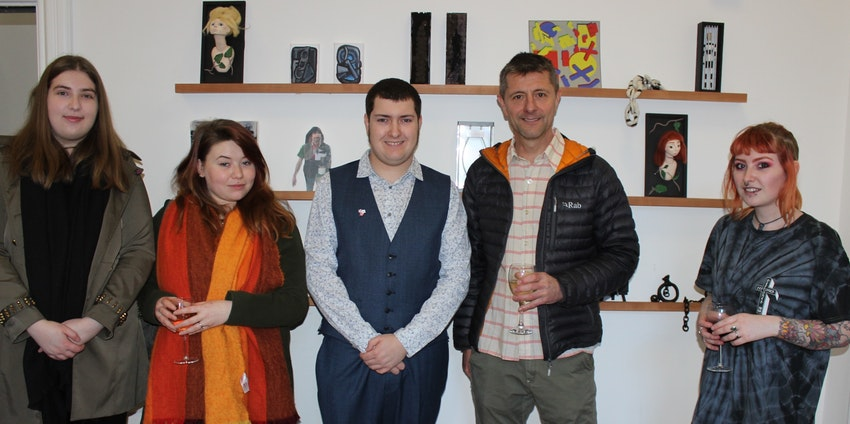 Elly Constantin, Alexandria Clements, Mark Westlake, Richard Hyde, and Lottie McGraw at the exhibition launch