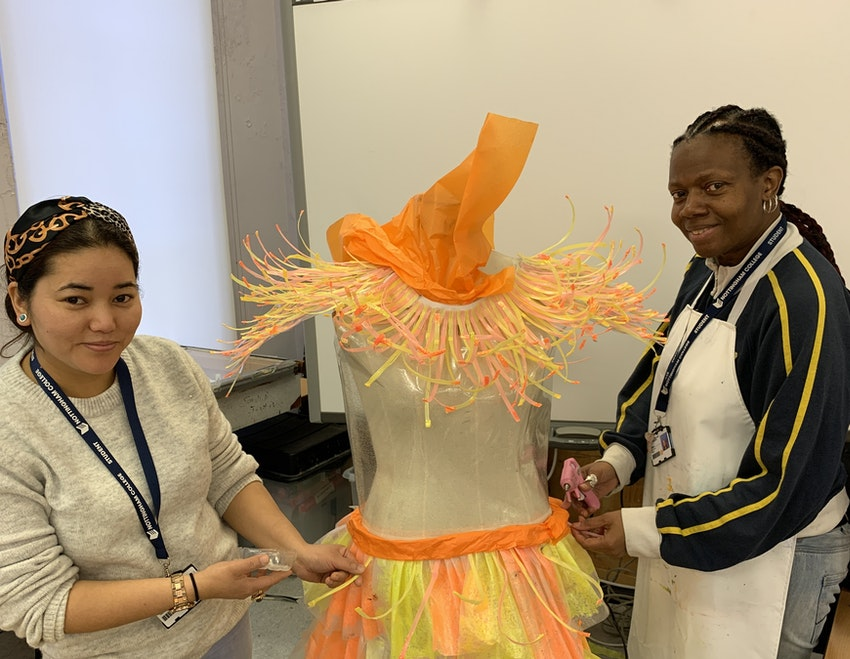 Level 2 Fashion and Textiles students Kalpana (l) and Paula (r) getting ready for Light Night 2020