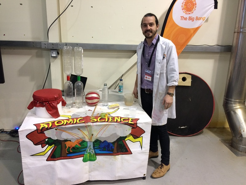Atomic Tom, from Atomic Science, presented an exciting Hair Air and Water show.