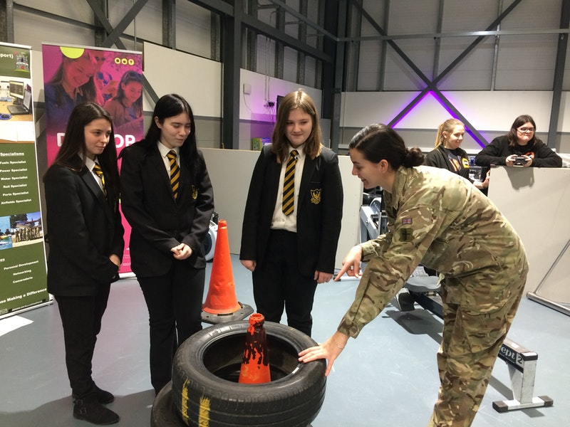 Lance Corporal Craven, from the Royal Engineers at Chetwynd Barracks, challenged visitors to think numerically with a tyre challenge.