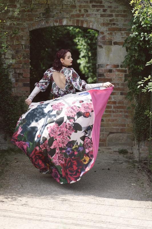 Model wearing one of Sarah's designs