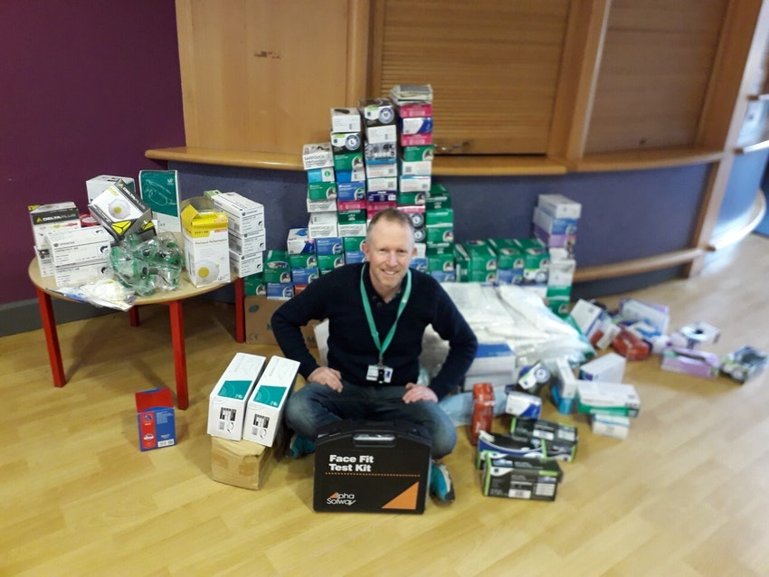 Nottingham College Health & Safety Manager Michael Bush with some of the supplies