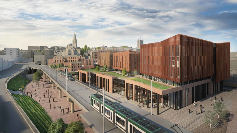 Nottingham City Hub external view overlooking the tram route