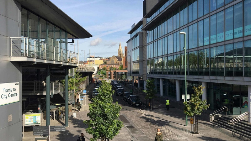 Nottingham City Hub viewed from the tram overpass
