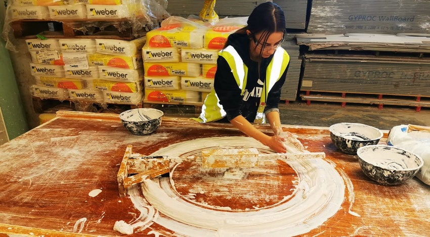 Plastering student training at the College's Basford campus