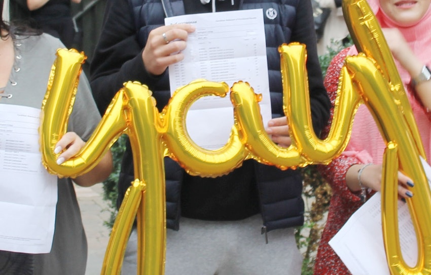 Students holding up a 'yay' balloon on a previous results day