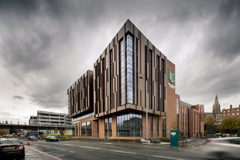 Exterior shot of the Nottingham College City Hub from back of the building