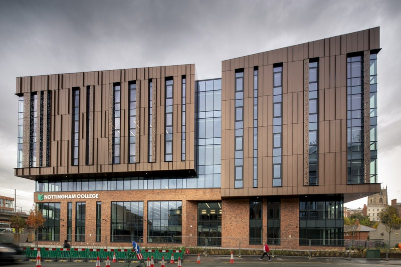 Exterior full side shot of the front of Nottingham College City Hub on Canal Street