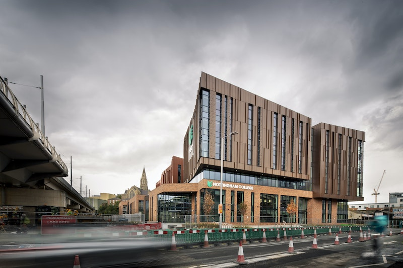Exterior shot of the front of Nottingham College City Hub building