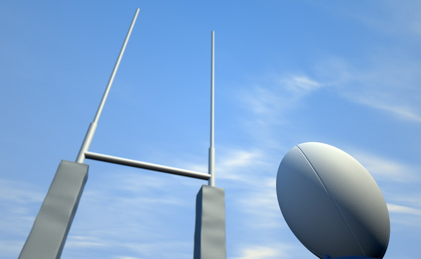 Rugby goal posts and ball