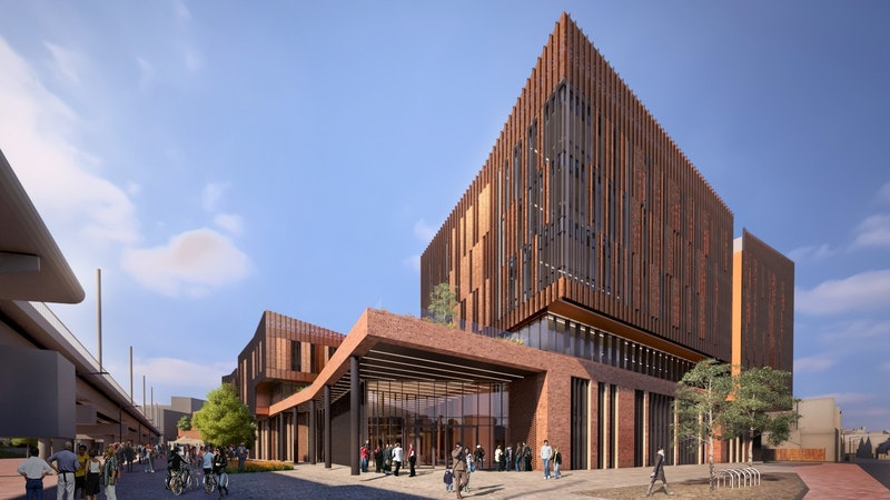 Artists impression of the City Hub building in daytime